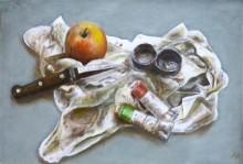 Arie Hollart, schilderstilleven met pauzemoment,30 x 45