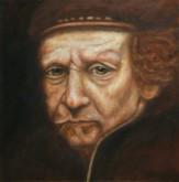 Betty Alink, zelfportret Rembrandt, tijdens workshop, 30 x 30