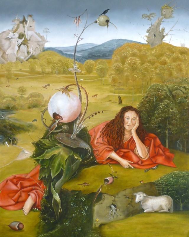 """Dakmar Scholten"""" Helmstok Canard """" Olieverf op doek 100 cm x 80"""