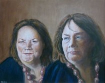 Harry Beelen, dubbelportret van Agnes 40 x 50