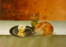 Len Samsom, naar Van Dijck en Claesz,    30 x 40