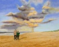 Len Samsom, strandwandeling, 40 x 50