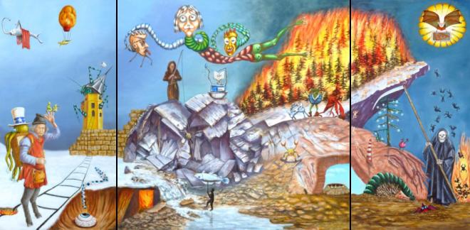"""Gezamenlijk drieluik   """"Vlammen""""  Schilders: Betty Alink, Hanny Scheffer, Eline Vroomans, Marianne Kroon, Maria van Vegchel, Susana de Jesus Acosta, Dolgor Seine, Harry Bosman  olieverf op doek 100 x 200 cm"""