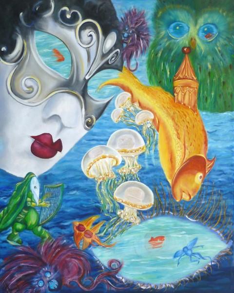 Hannah Siepman  'Psychedelica'  Olieverf op doek 100 x 80 cm