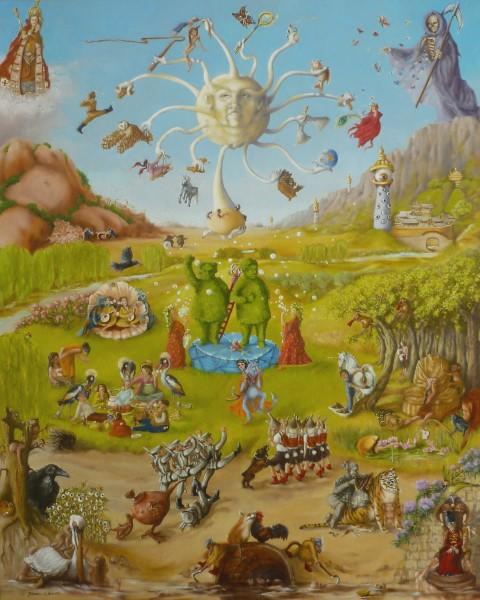 """Hanny van den Heuvel  """" Quat Ey, Quat Kieken """"  Olieverf op doek 80 x 100 cm"""