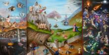 """Natascha Göbel  """"Het Leven"""" drieluik olieverf op doek, 100 x 100 cm (gesloten) 100 x 194 cm (geopend)"""