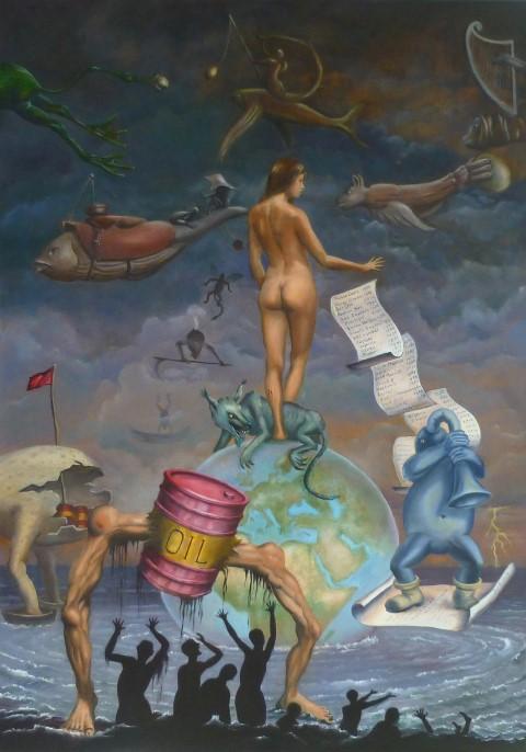 "Jan Britsia  ""Moeder Aarde en het Visioen van Jeroen Bosch""  Olieverf op doek 100 x 70 cm"