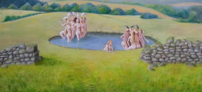"""Janet Nieuwland  """"Vogel Lusten""""  Olieverf op doek 55 x 120 cm"""