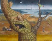 "Len Samsom  "" Het Uilennest ""  Olieverf op doek 80 x 100 cm"