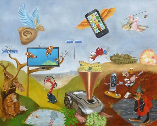 """Maria Lenkens  naar  """"De Verzoeking van de heilige Antonius """" Olieverf op doek  80 x 100 cm"""