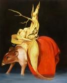 """Marita Zuurhout  """" Verzoeking van de Heilige Antonius """"  detail  Olieverf op doek 100 x 80 cm"""