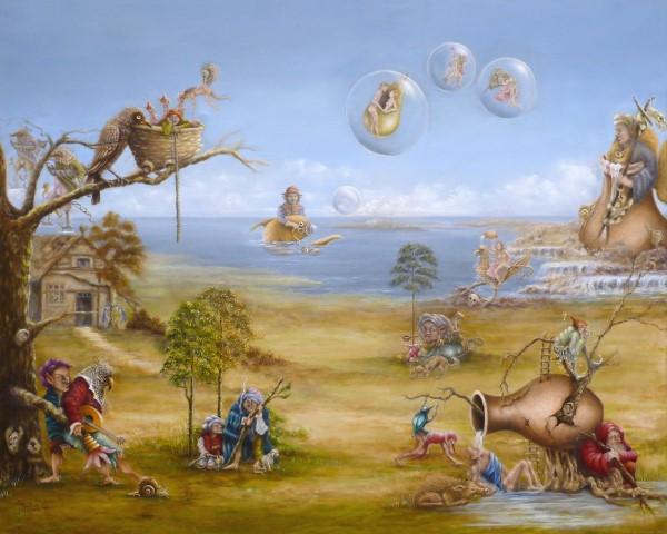"Paola Schmitz-Jansen    ""De Kraamkamer""   Olieverf op doek   80 x 100 cm"