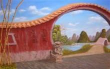 China (eigen compositie naar aanleiding van vakantiefoto's) 30   x   40 cm Jan Steenbergen