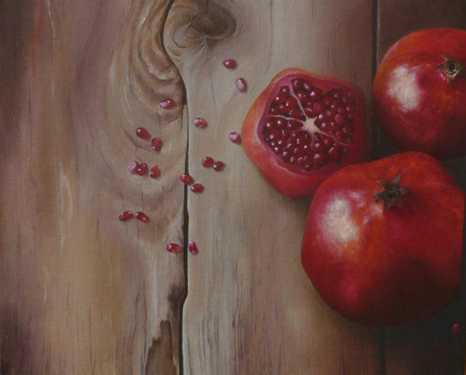 Ann Kerbey, granaatappels, 25 x 31