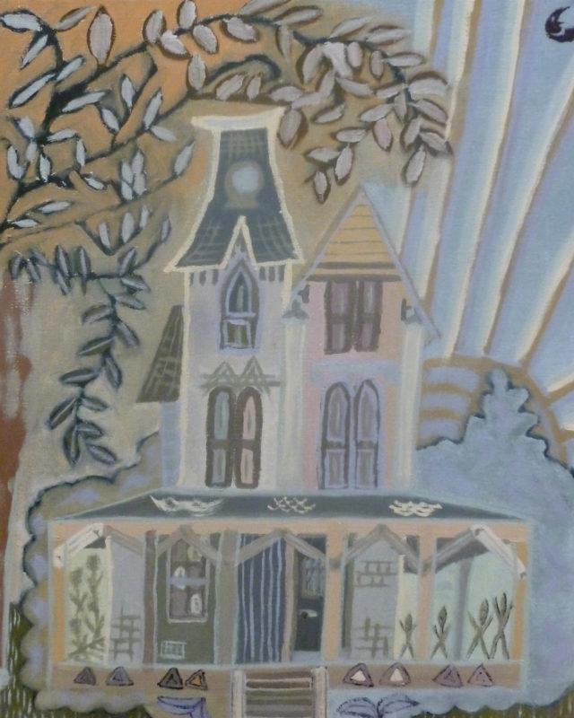 Rebecca Monkelbaan, grijze huis, 50 x 40
