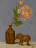 Joke vd Plassche, Olifant in rozensetting, 40 x 30, naar de waarneming