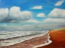Monique van Hoorn, strand met rode bal