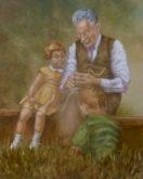 Tineke van Taarling, met opa, 50 x 40