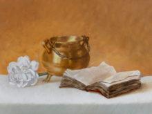 Godelive Kip, vrij naar oude meesters, 30 x 40, 2e opdracht