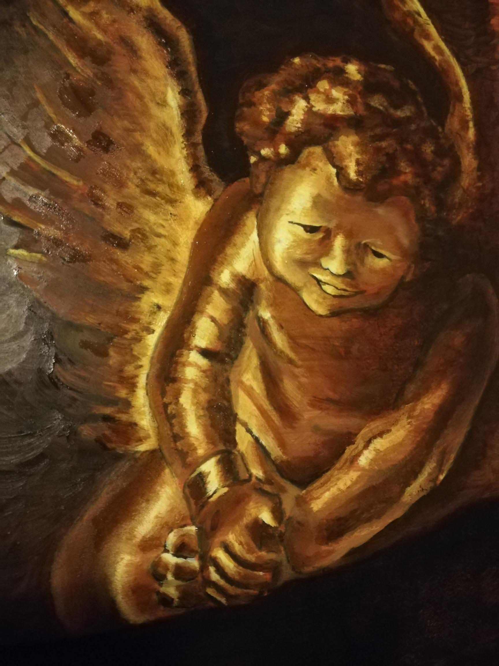 Marieke Engelbertink, de engel van Remsbrandt, in coronatijd, 30 x 20
